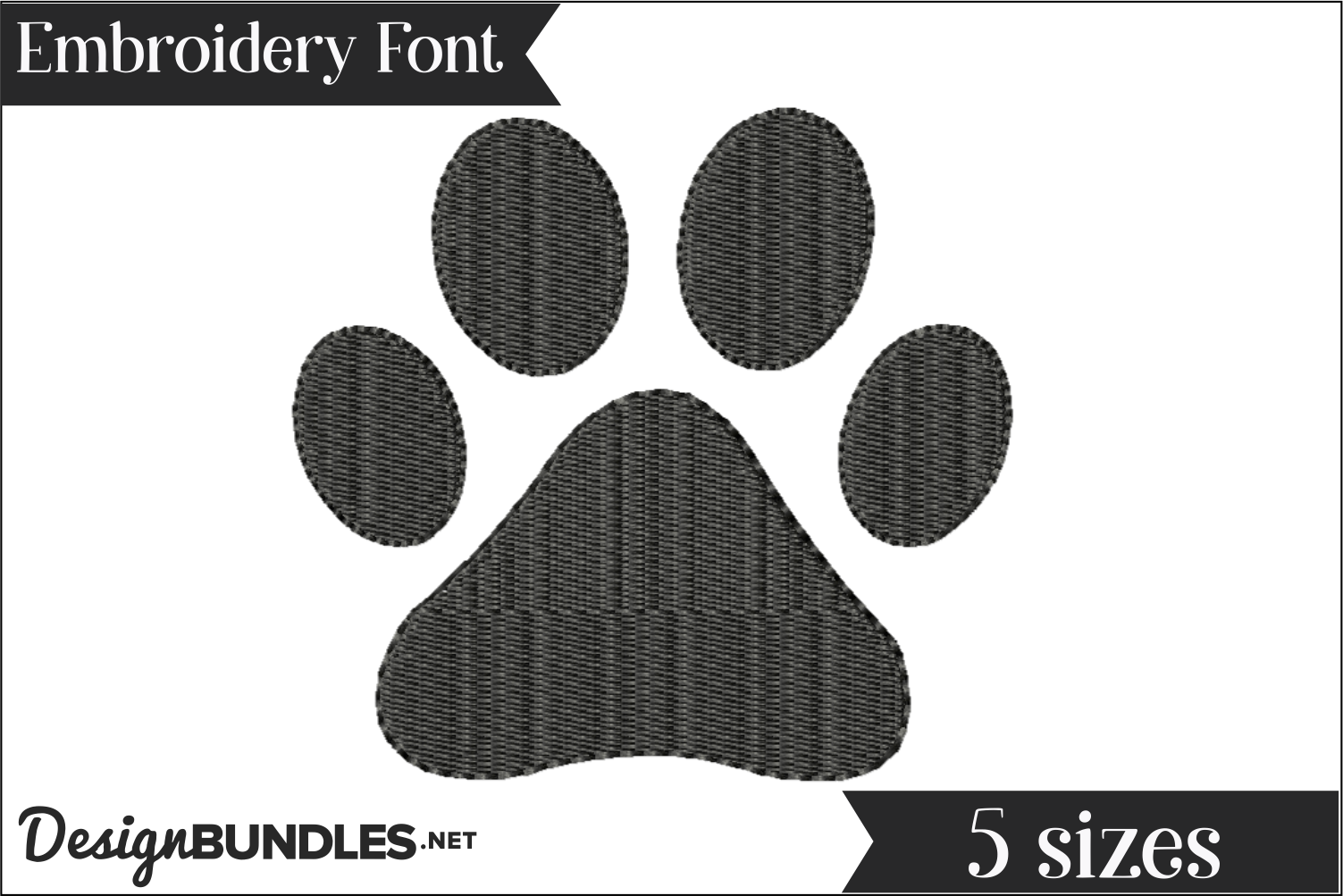 Paw Print Embroidery Design example image 1