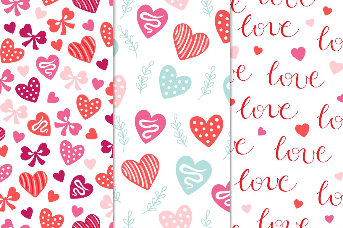 12 Valentine Seamless Patterns example image 4