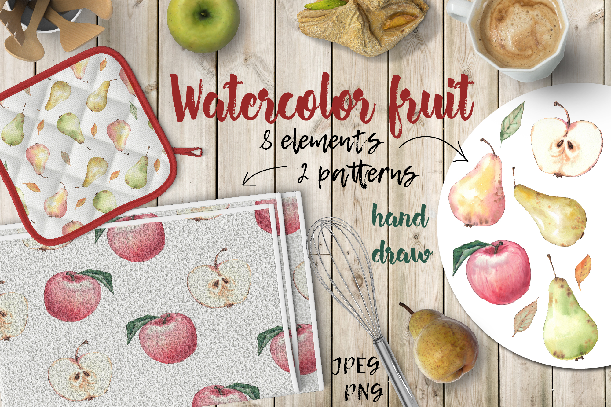Watercolor fruit.  example image 1