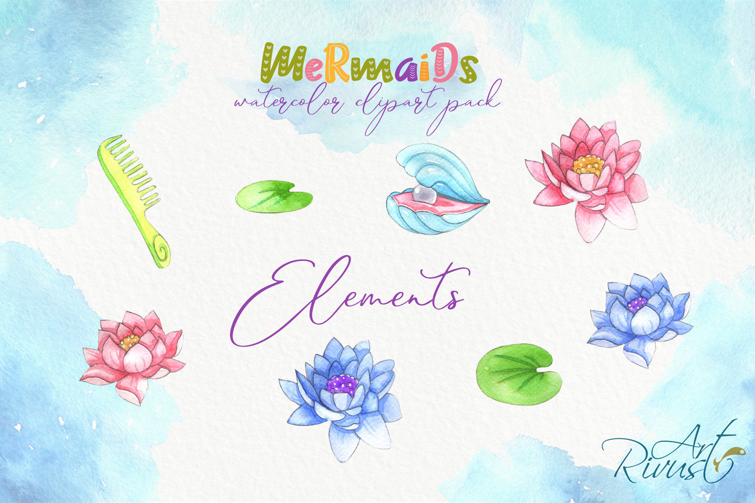 Cute mermaids clipart pack. Watercolor clip art baby shower example image 2