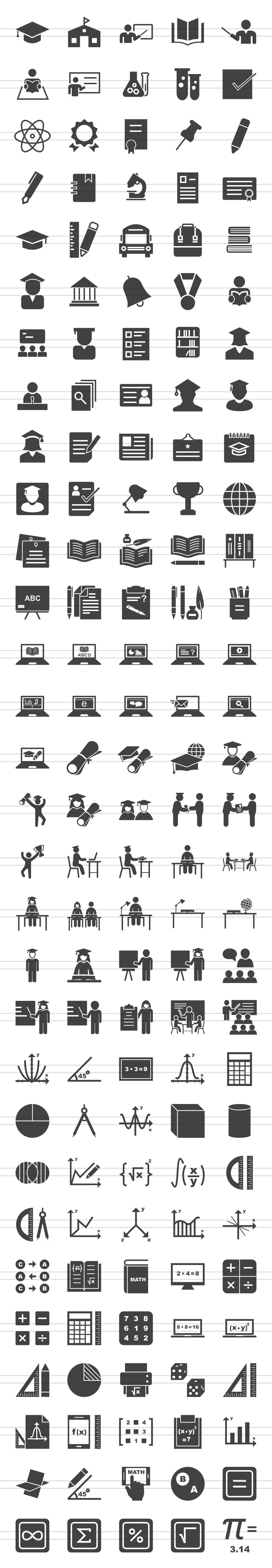 150 Academics Glyph Icons example image 2