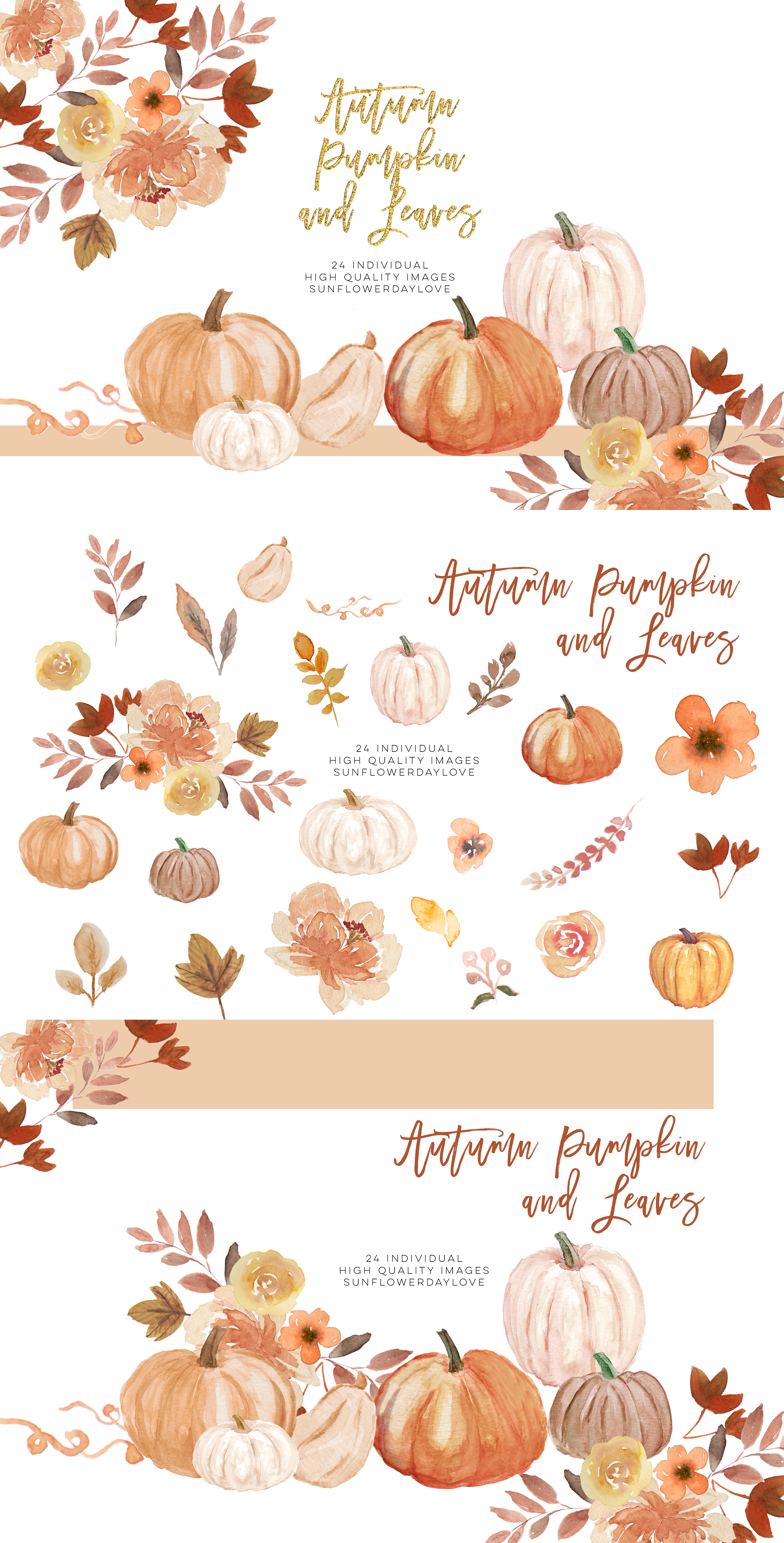Fall Leaves clipart, Simple Fall Autumn Watercolor clipart, example image 4
