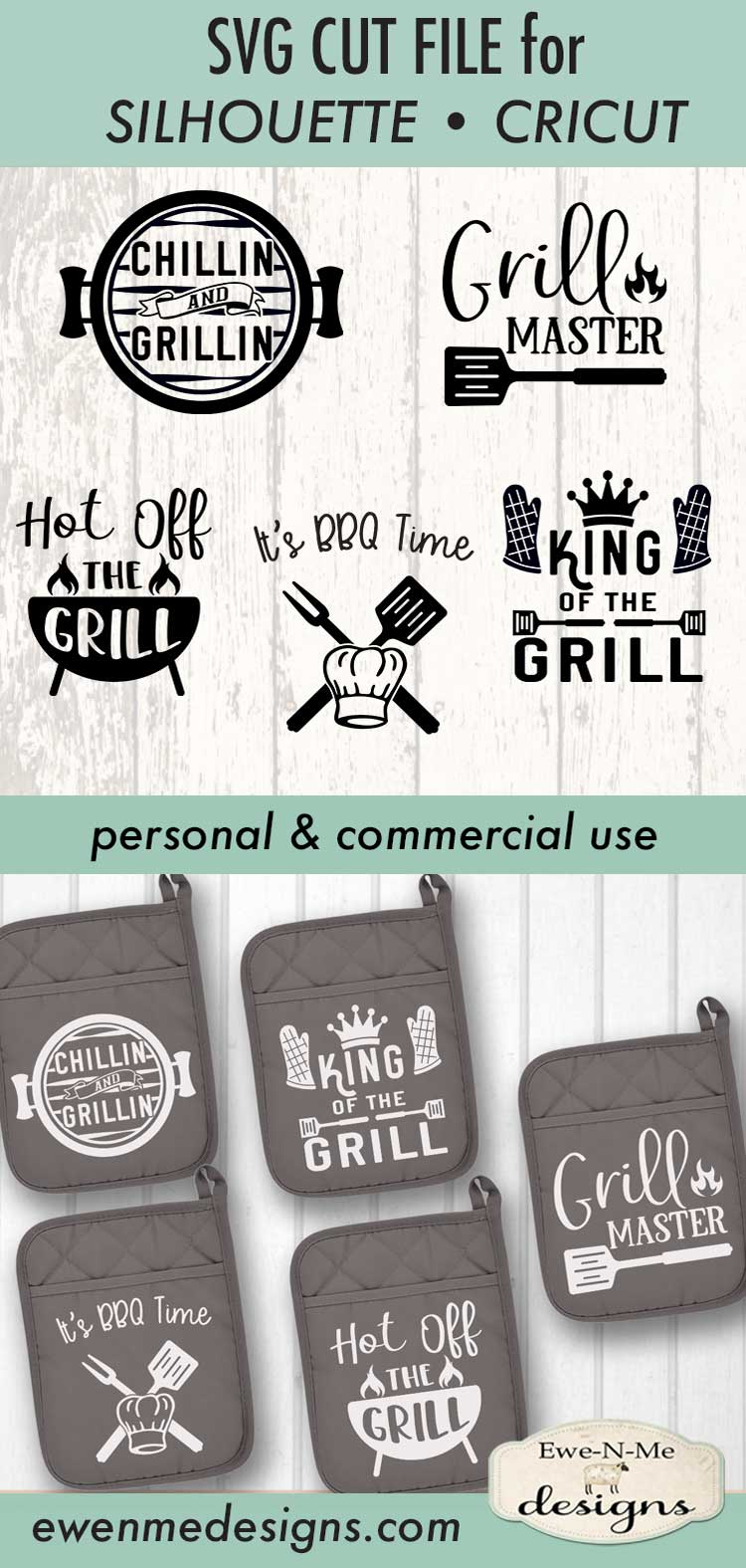Grilling BBQ Themed Pot Holder Bundle - Fathers Day SVG example image 7
