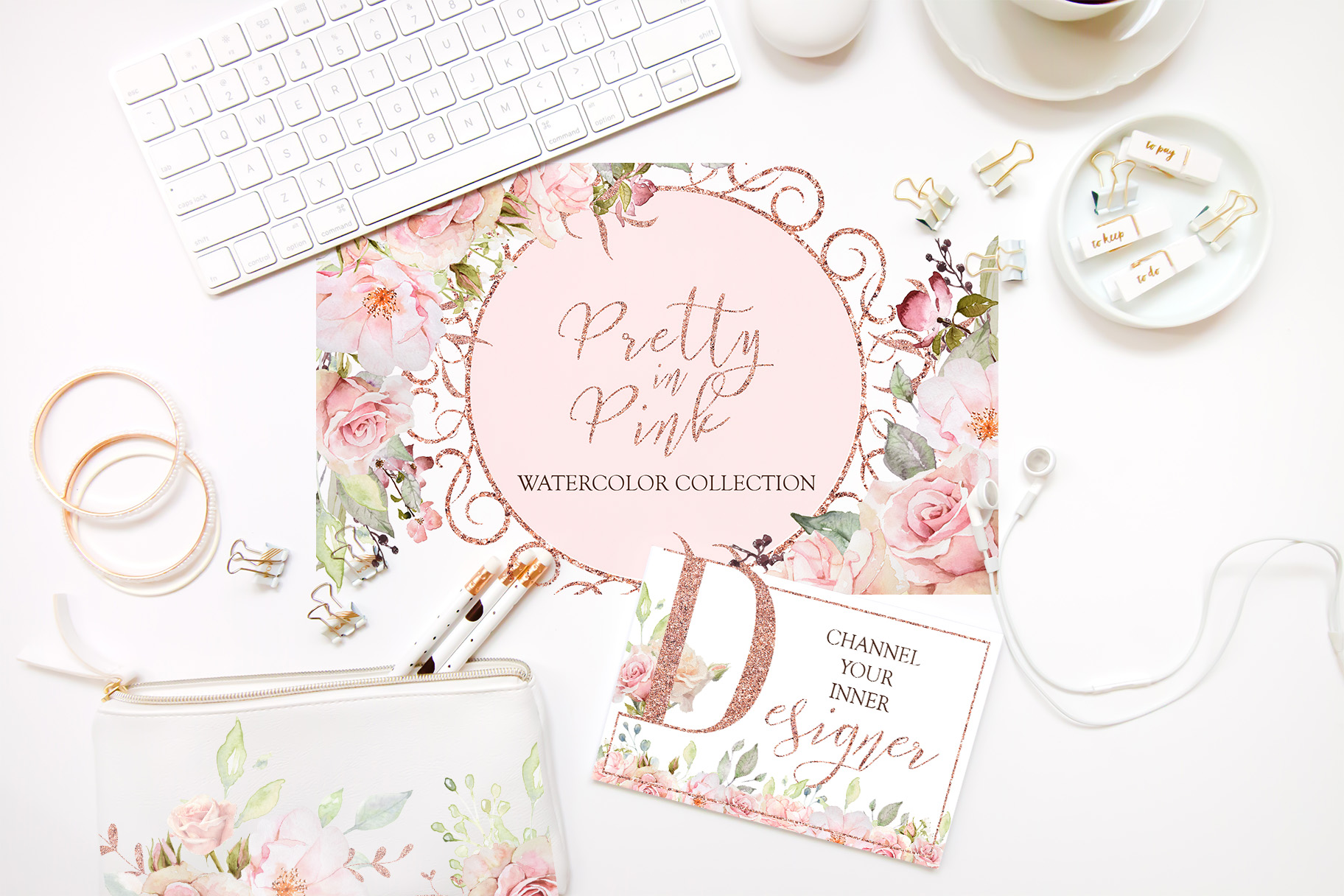 Pretty in Pink Watercolor Collection example image 4