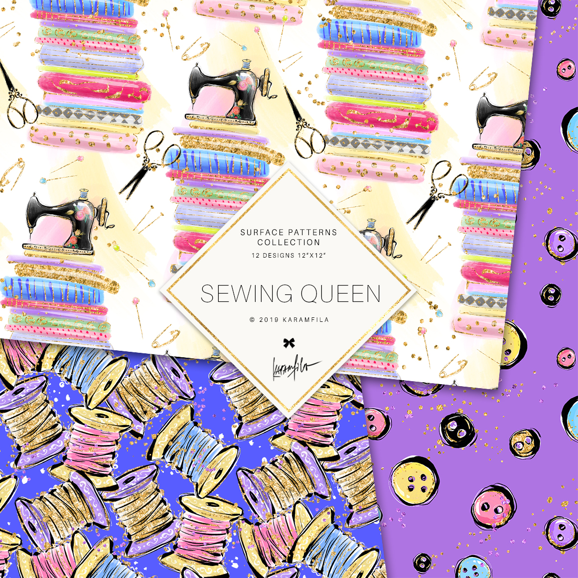 Sewing Girl Digital Paper example image 4