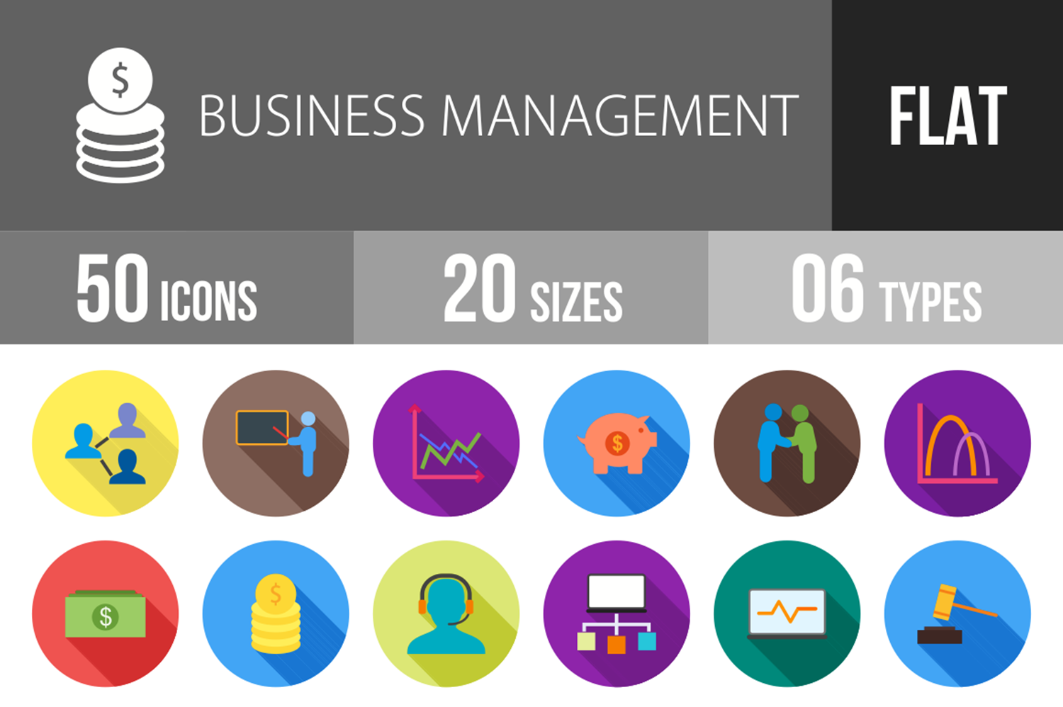 50 Business Management Flat Long Shadow Icons example image 1