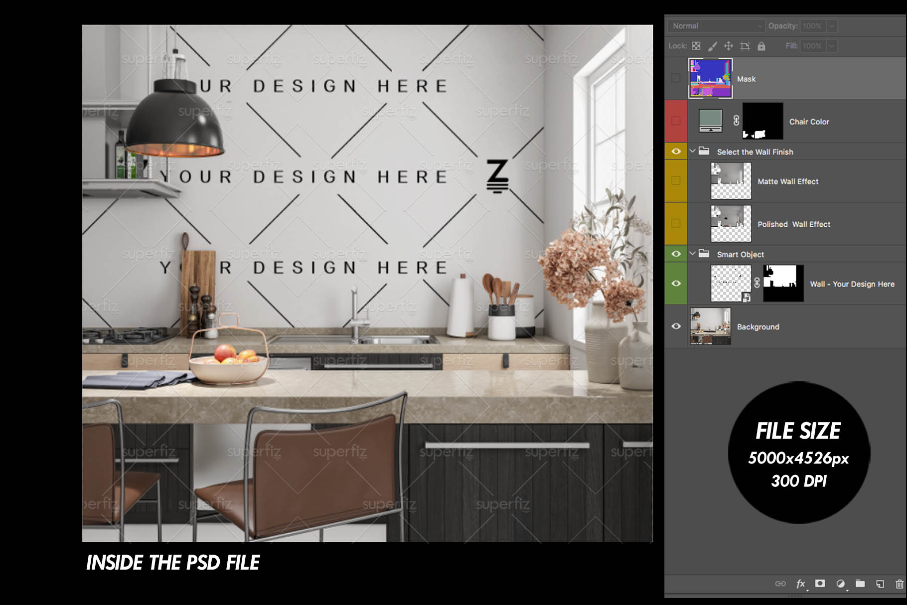 Blank Wall Kitchen PSD Mockup SM73 example image 5