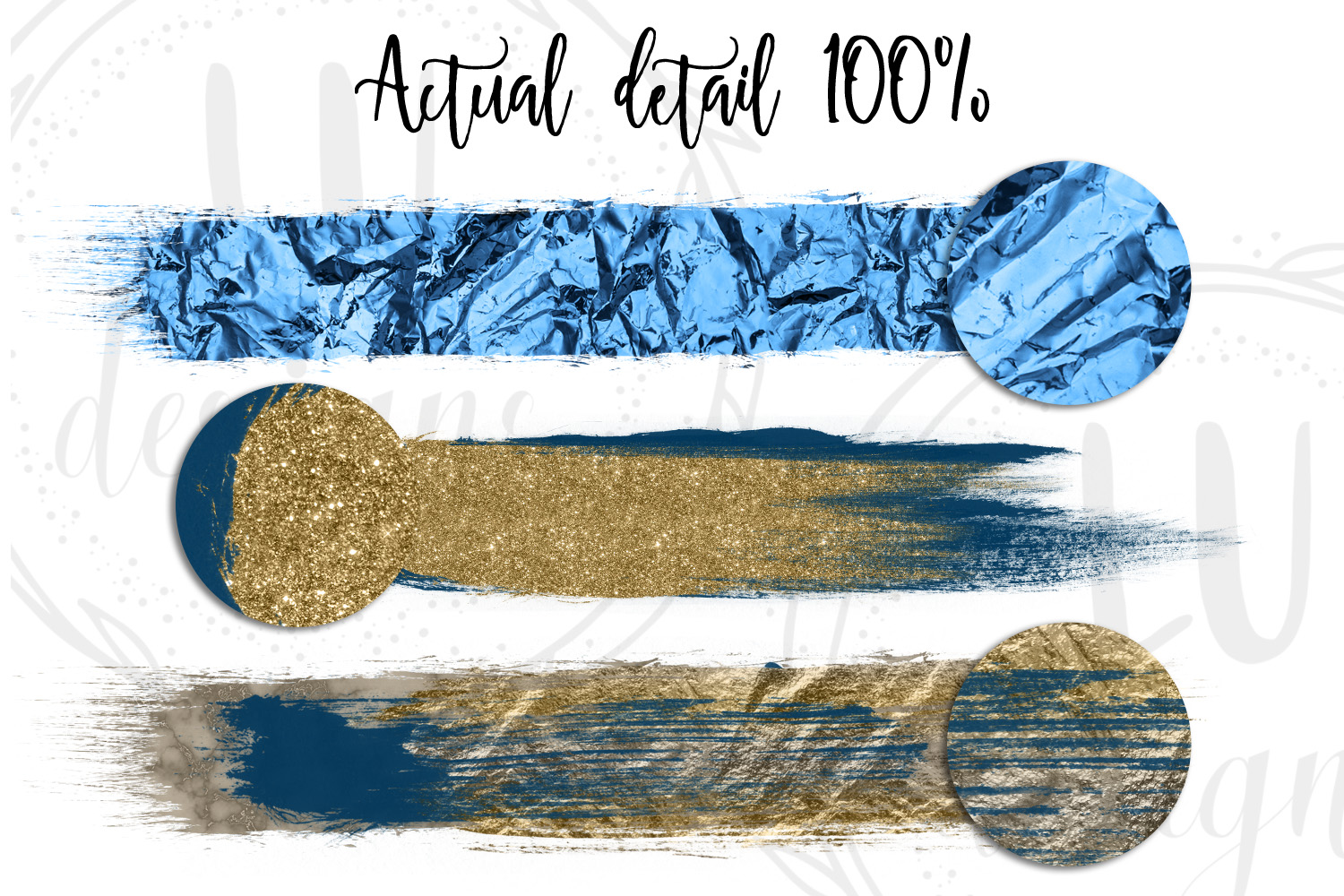 Gold, Silver, and Navy Blue Brush Strokes example image 5