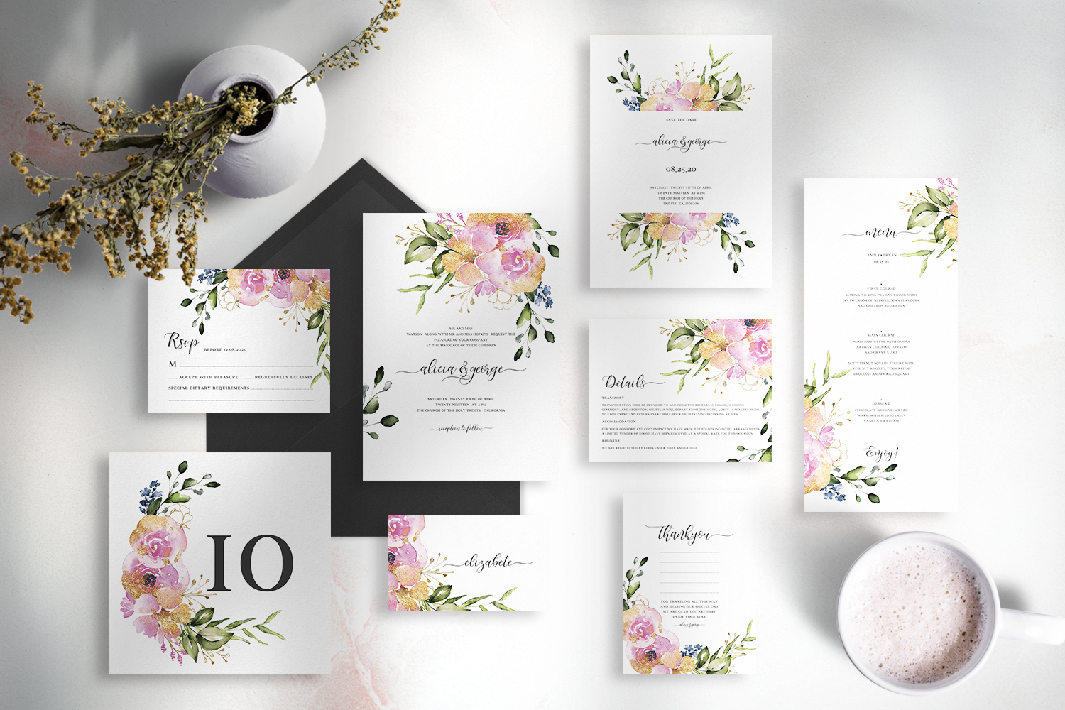 Rose & Gold Floral Wedding Suite example image 1