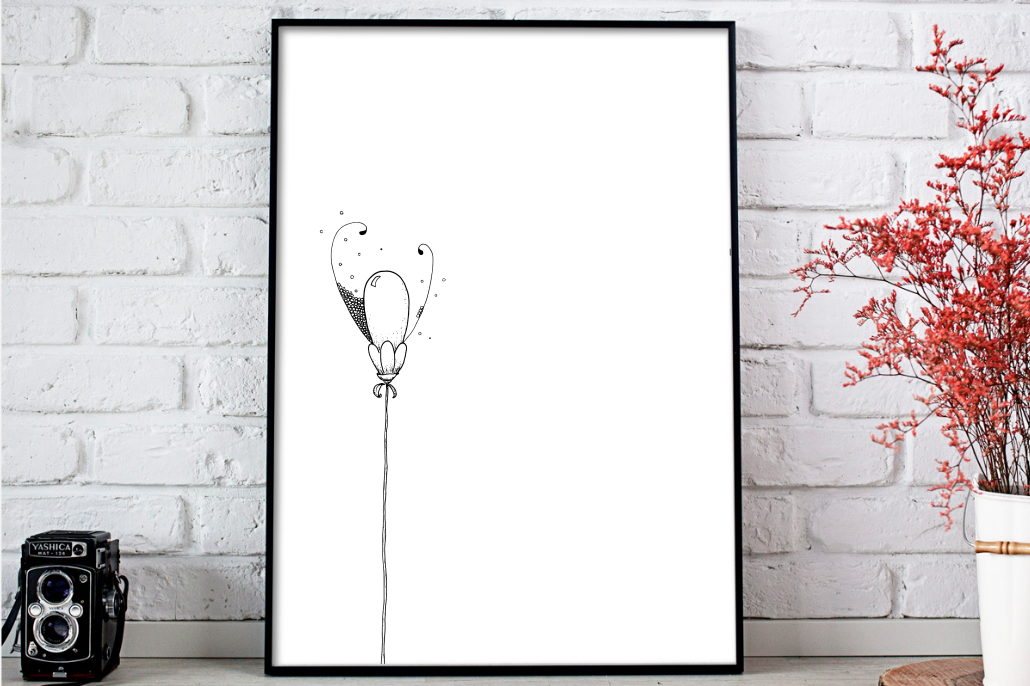 Balloon Flower Doodle Art, A1, SVG example image 1