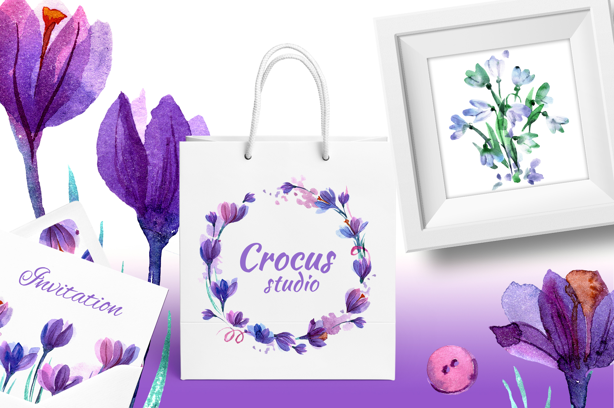 Watercolor crocuses and snowdrops example image 5