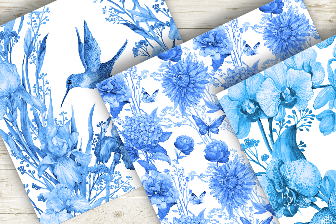 Seamless Pattern Watercolor Blue example image 2