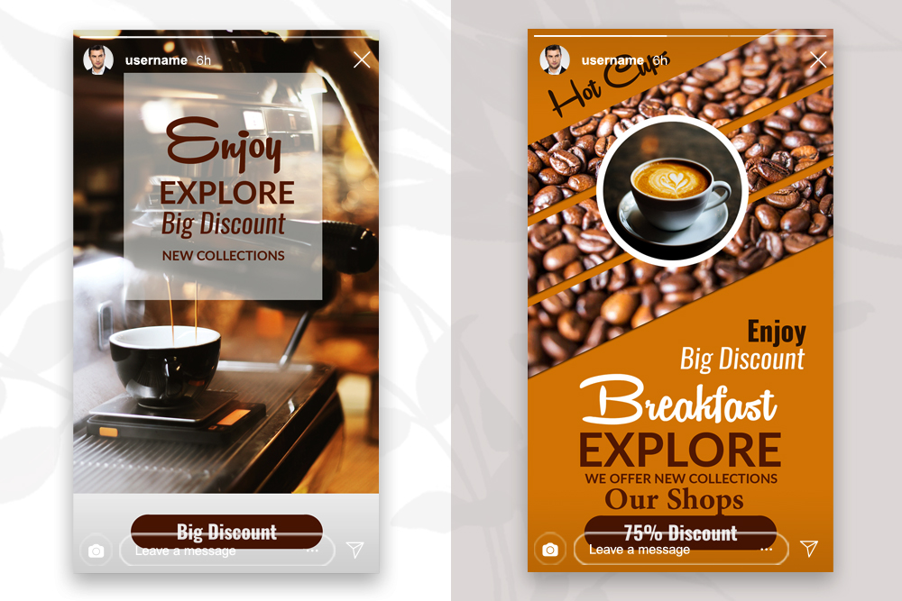 4 PSD Instagram Coffee Stories Template example image 3