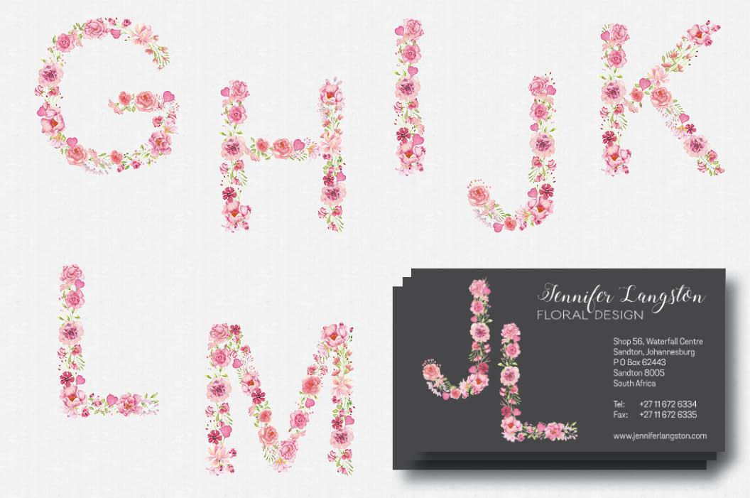 Pink floral alphabet in watercolors plus FREEBIE example image 3