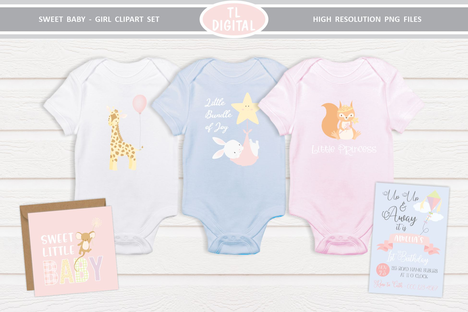 Sweet Baby Girl Clipart Set - 26 Baby themed Graphics example image 4