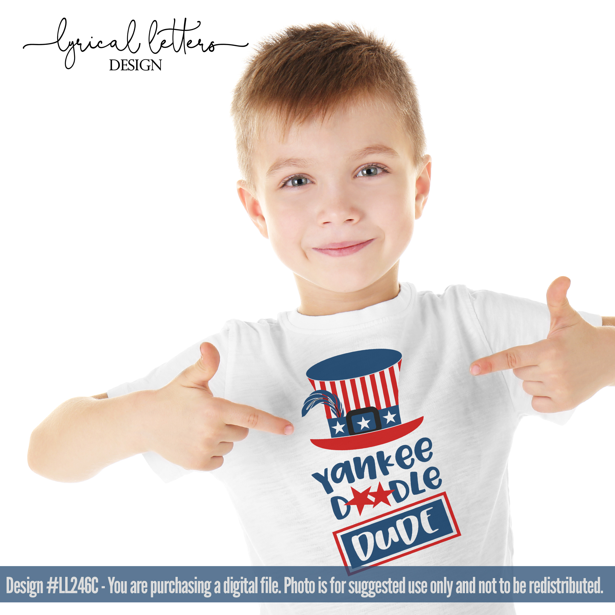 Yankee Doodle Dude Patriotic SVG DXF LL246C example image 2
