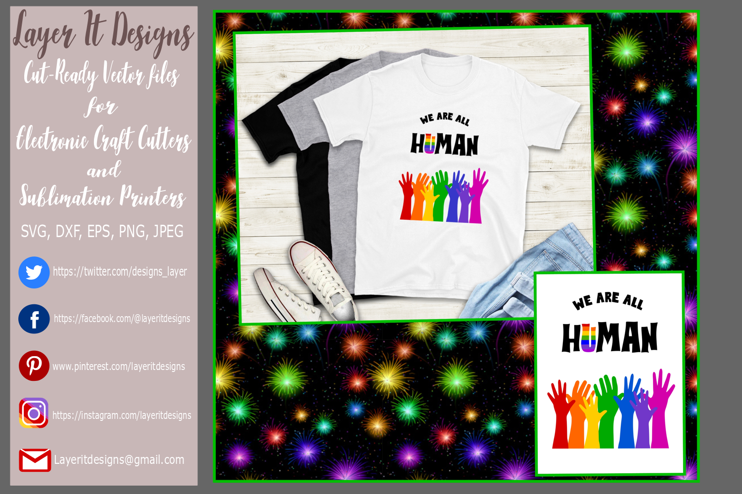 We are all Human/ Pride design Files example image 1