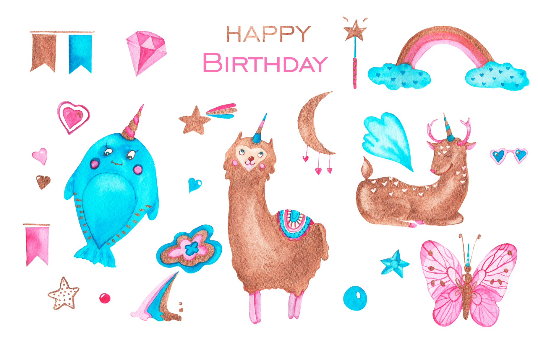 Happy birthday with unicorns example image 2