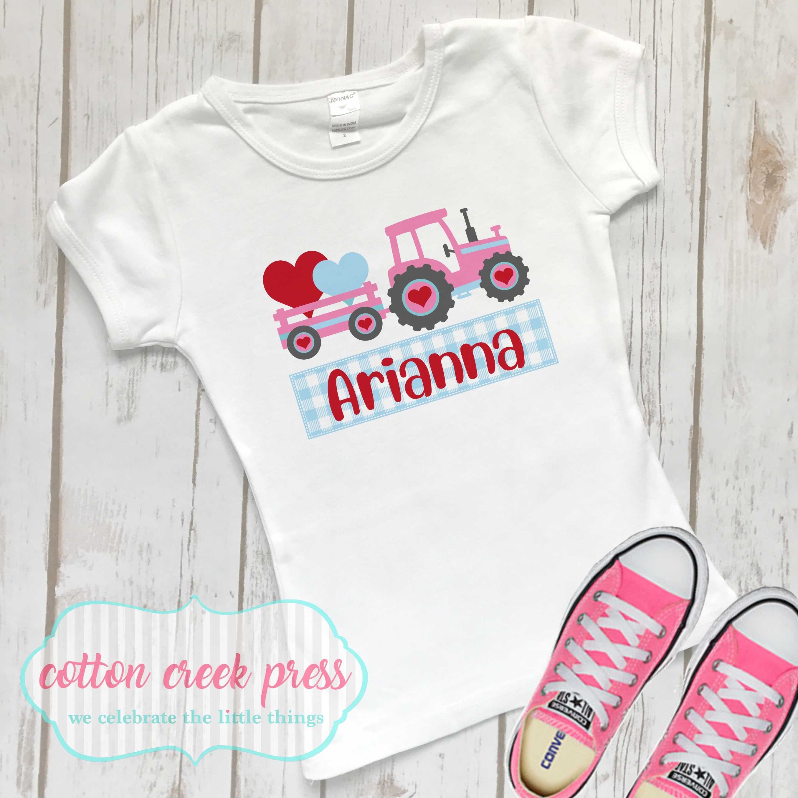 Tractor Valentine Design for girls, PNG sublimation download example image 2