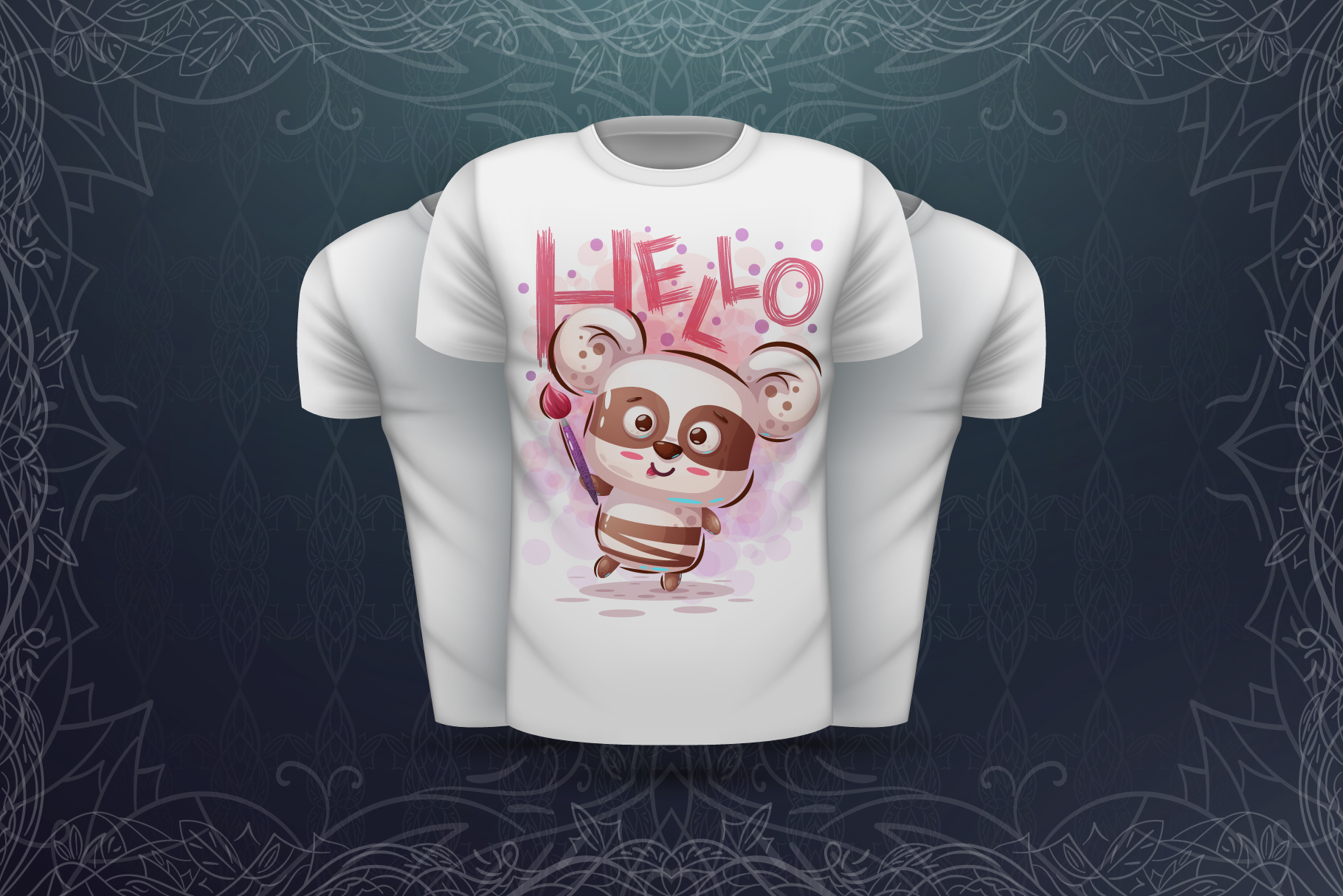 Set cute panda - for print t-shirt example image 6