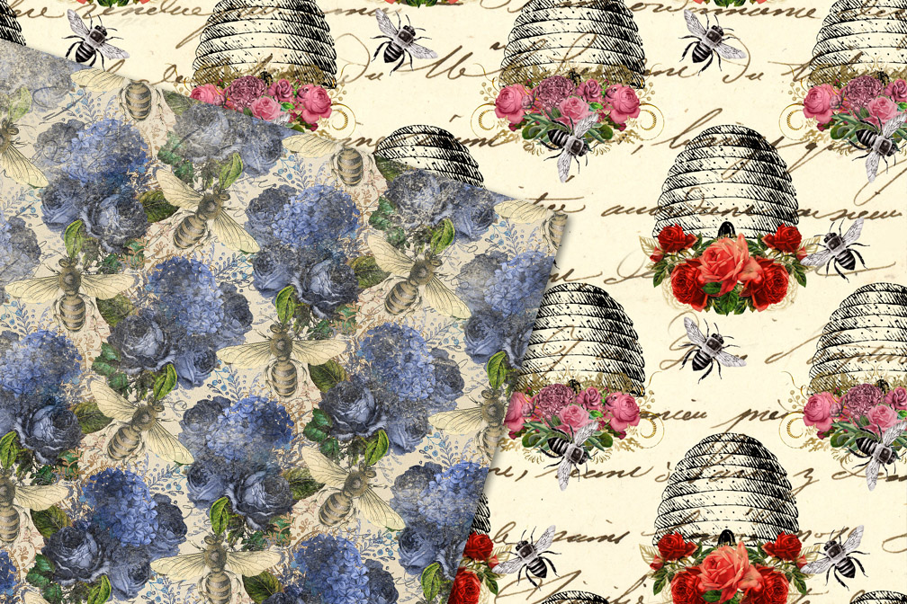 Vintage Honey Bee Digital Paper example image 2