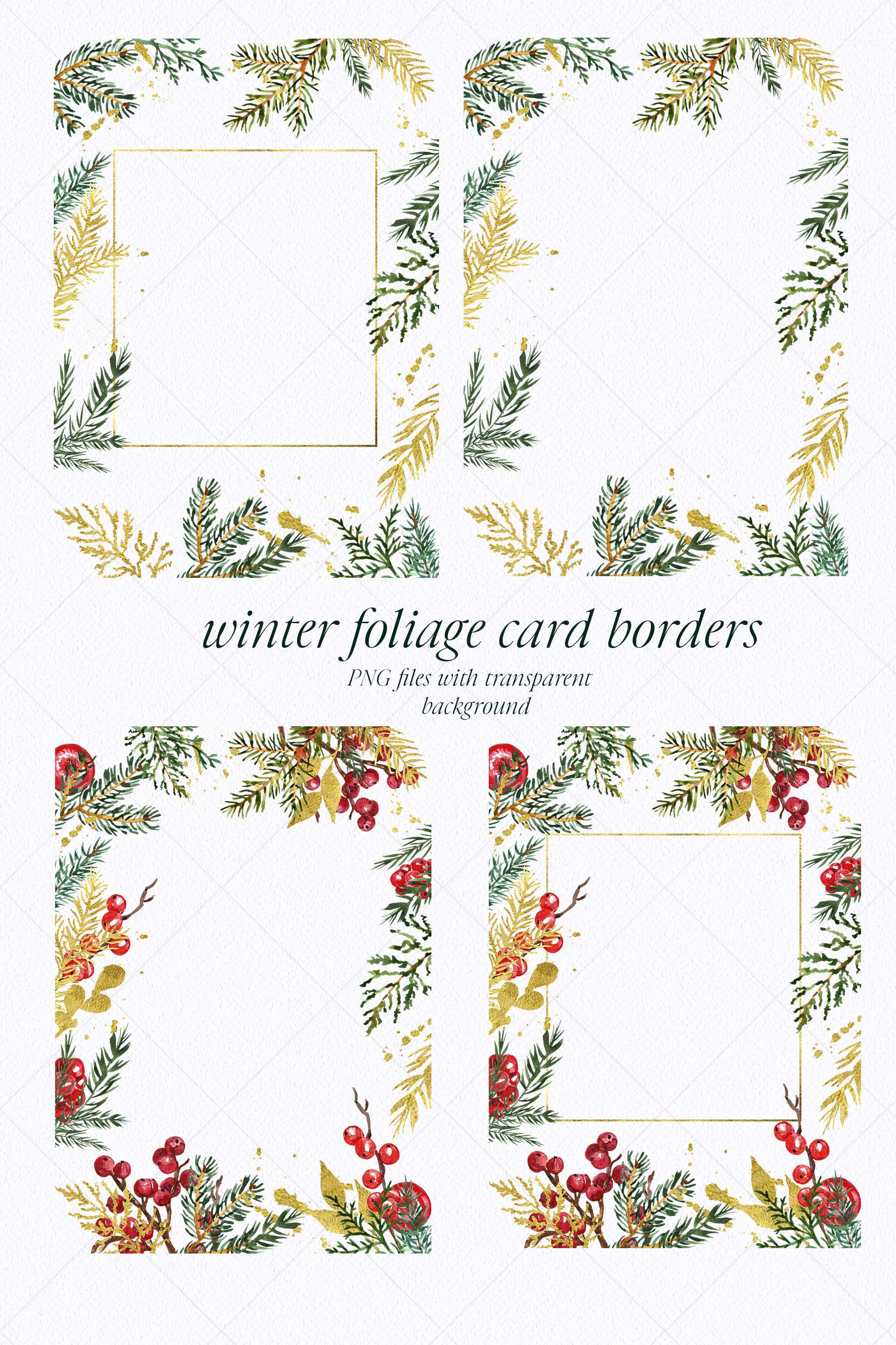 Watercolor Christmas Wreath Holiday Winter Borders Greenery example image 4