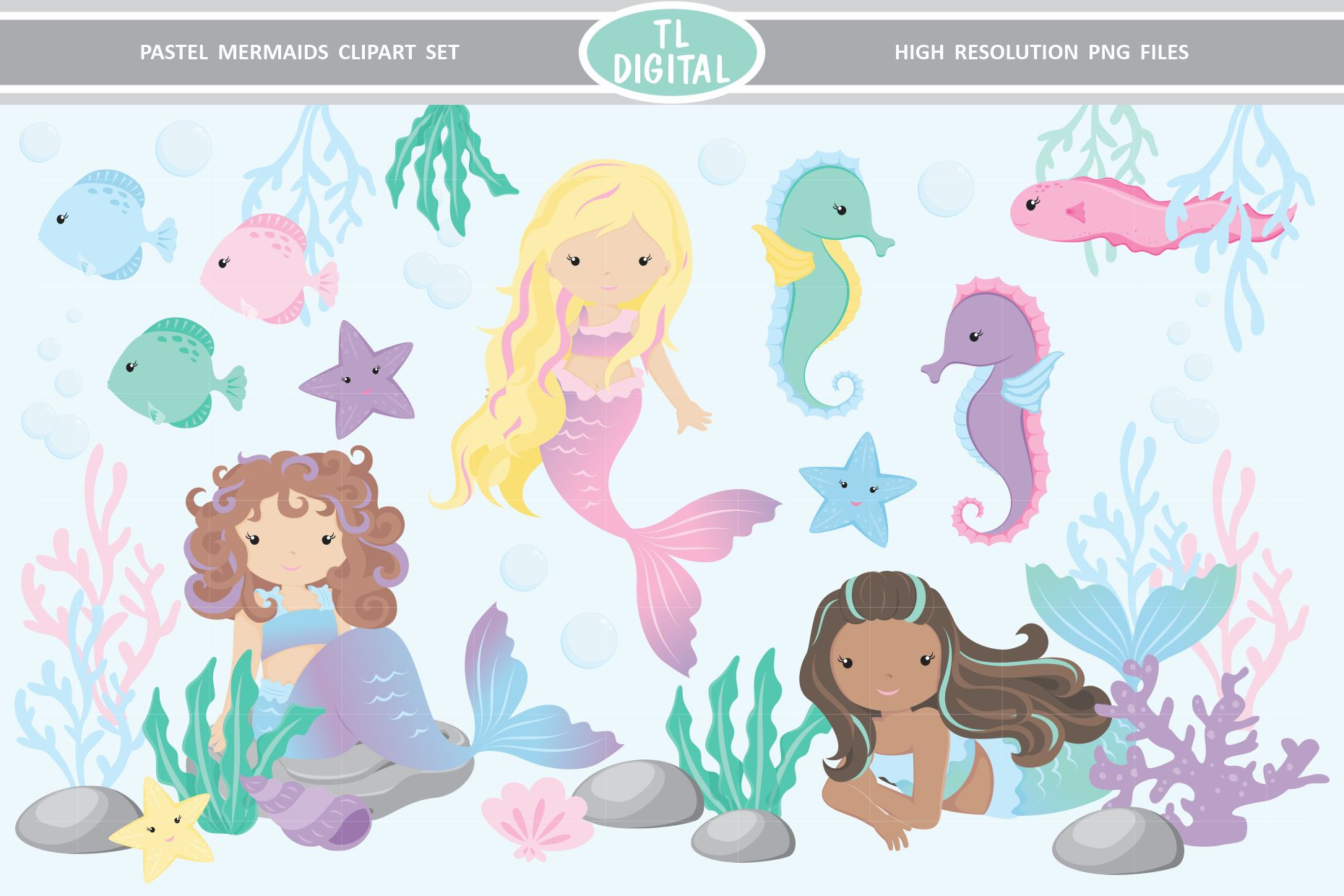 Pastel Mermaid Clipart Set 29 High Resolution PNG Graphics example image 1