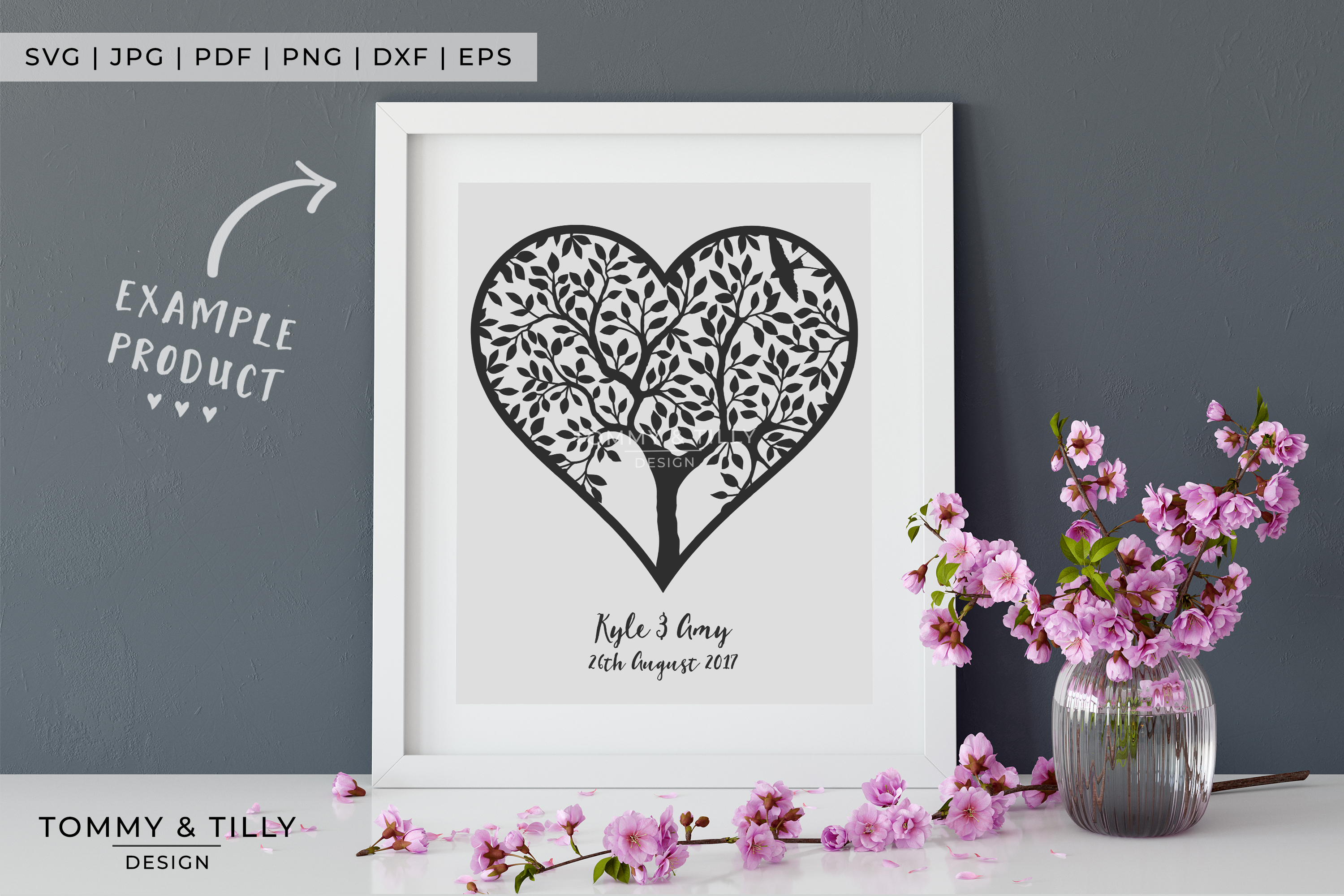 Heart Tree - Papercut Template SVG EPS DXF PNG PDF JPG example image 6