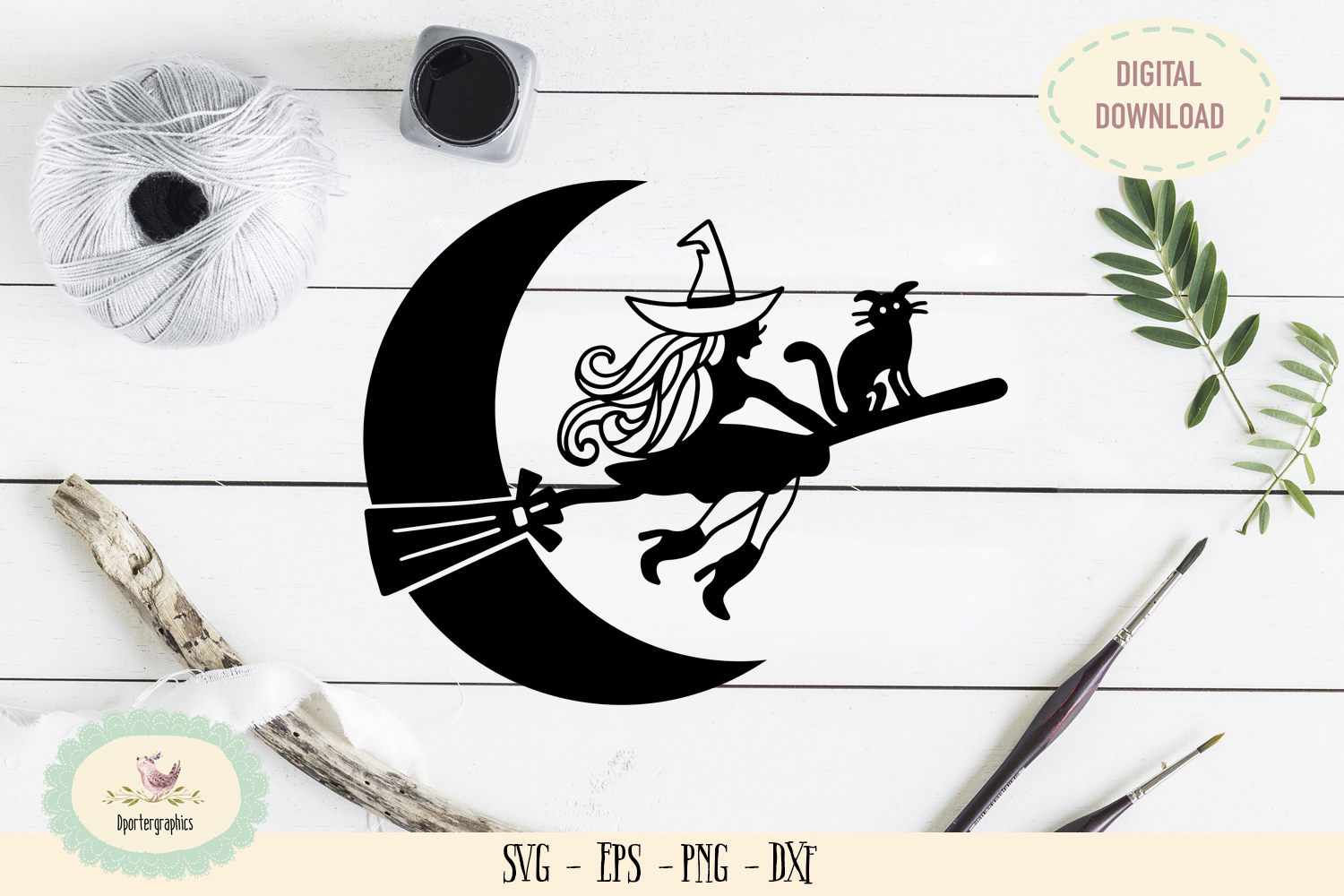 Flying cat witch halloween moon SVG PNG example image 1