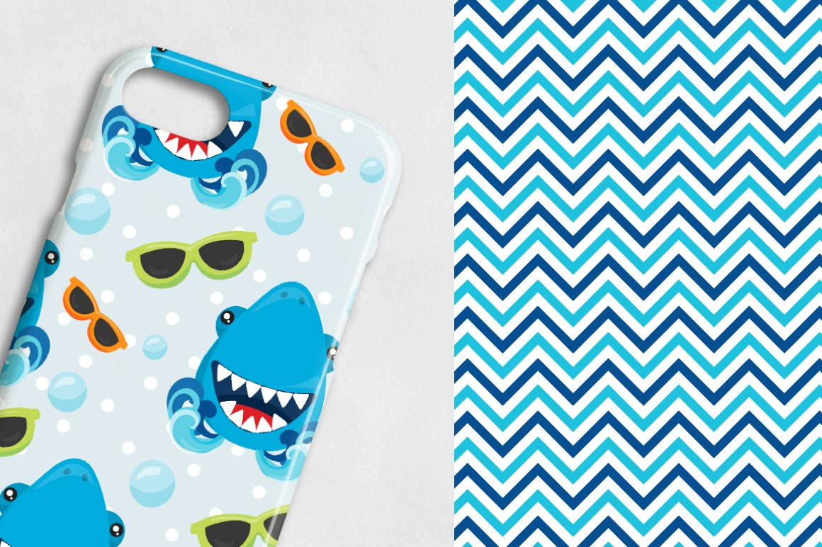 SHARKS, digital papers example image 4