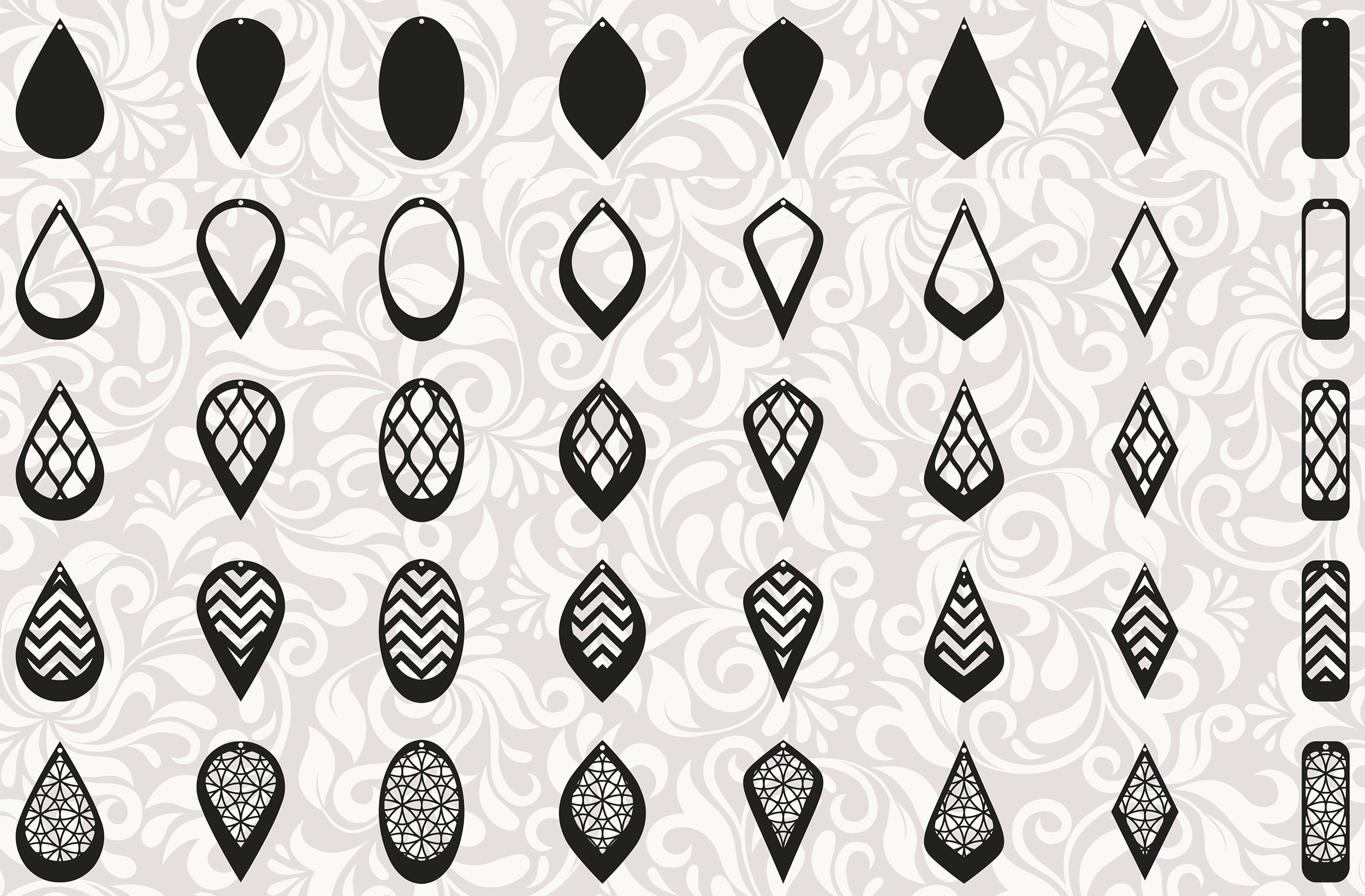 Download 172 Earrings template SVG - Cut files - Leather earrings SVG
