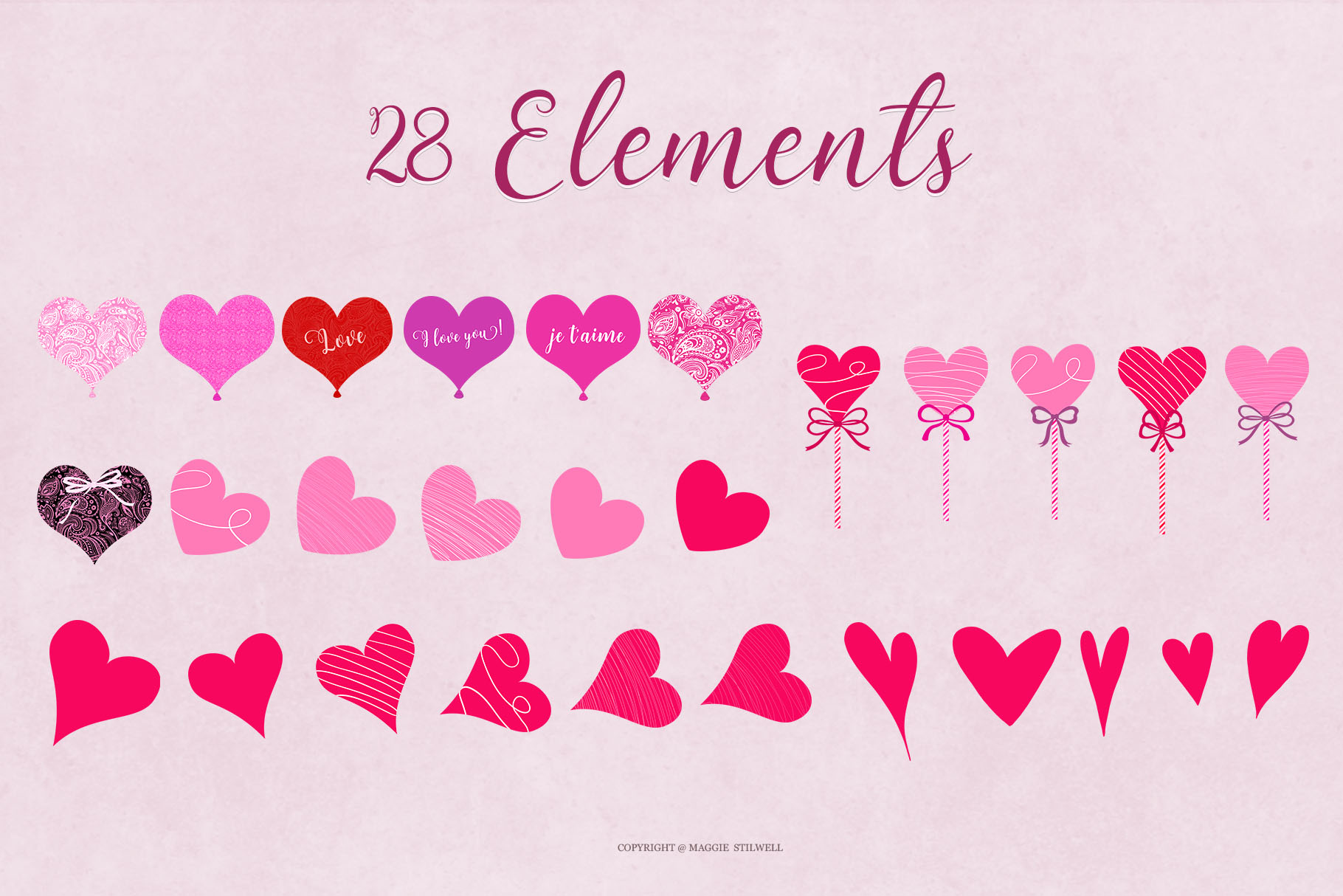 All Hearts Clipart Set example image 6