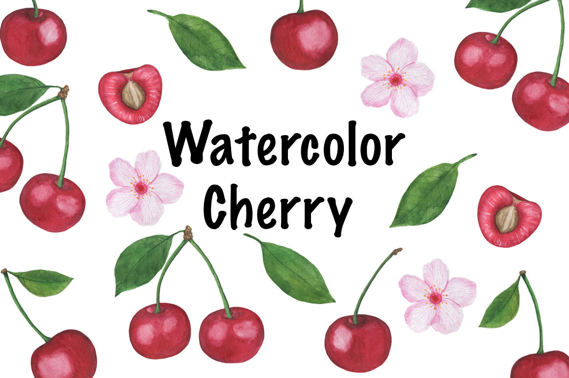 Set Cherry watercolor example image 1