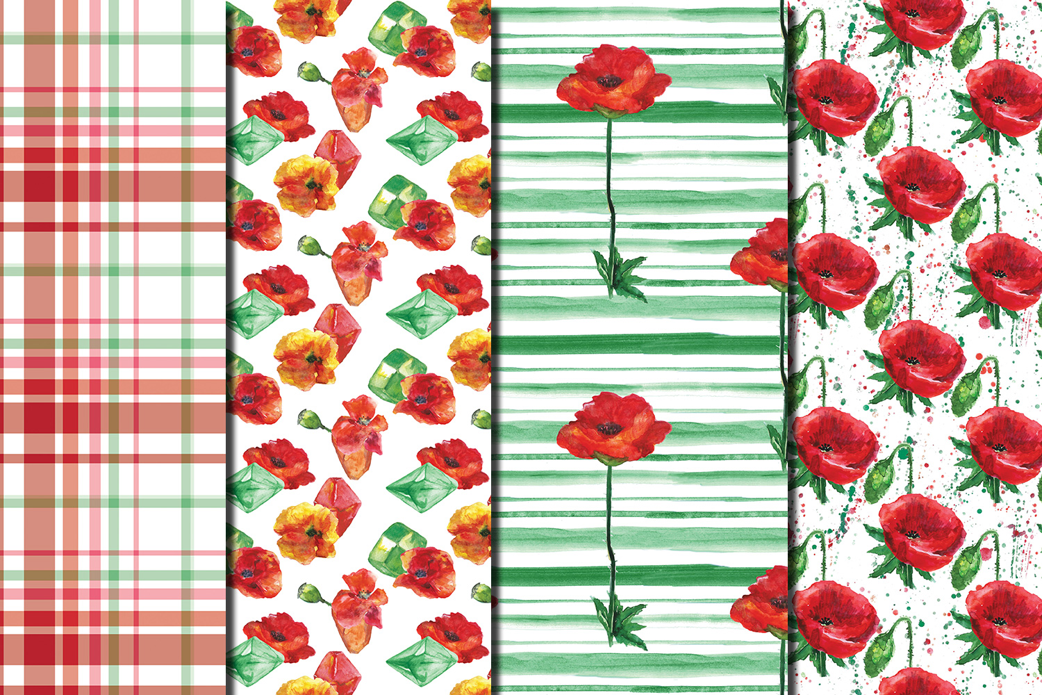 Watercolor Poppies seamless digital paper pack example image 2