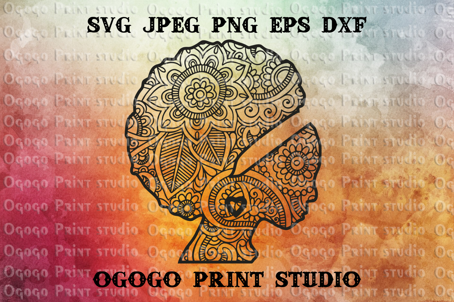 African American Svg, Woman Svg, Mandala svg, Zentangle SVG example image 1
