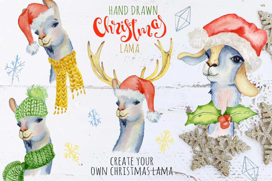 Christmas lama watercolor creator example image 1