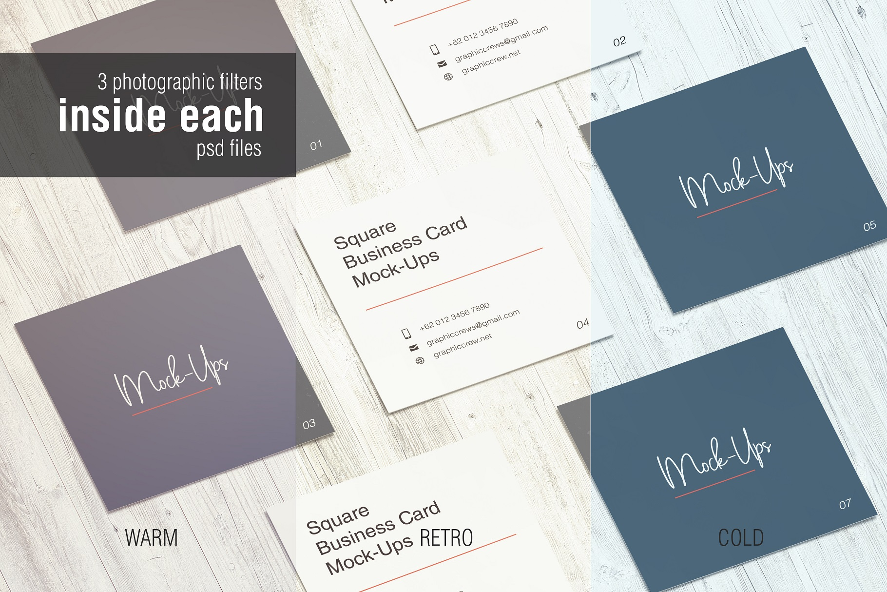 Square Business Card Mockup example image 9