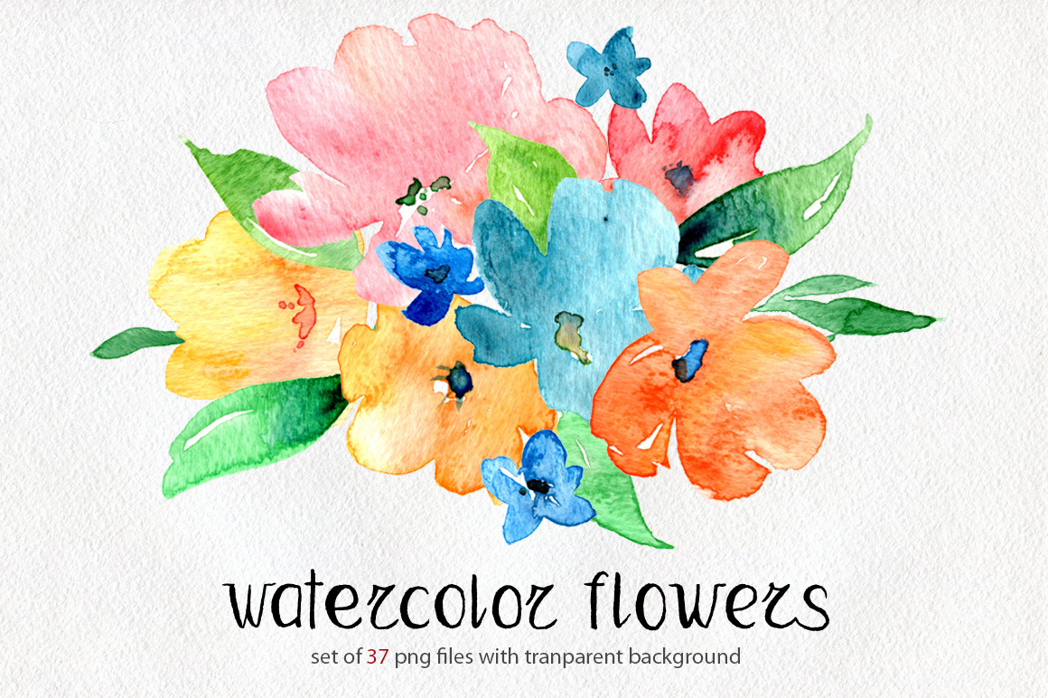 Bright watercolor flowers set example image 1