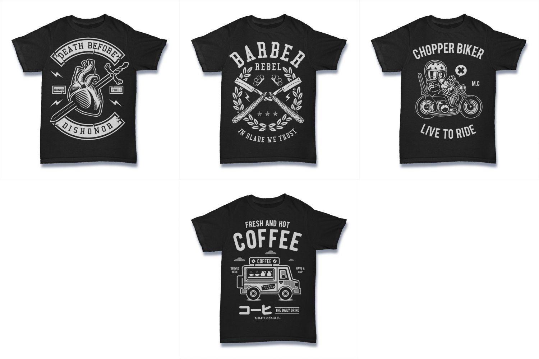 100  Vector Tshirt Designs ( B/W Concept ) example image 20