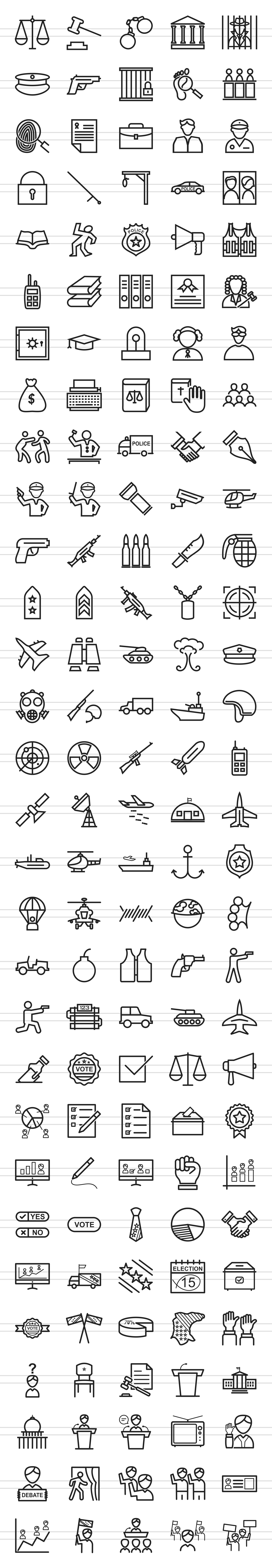 150 Law & Order Line Icons example image 2