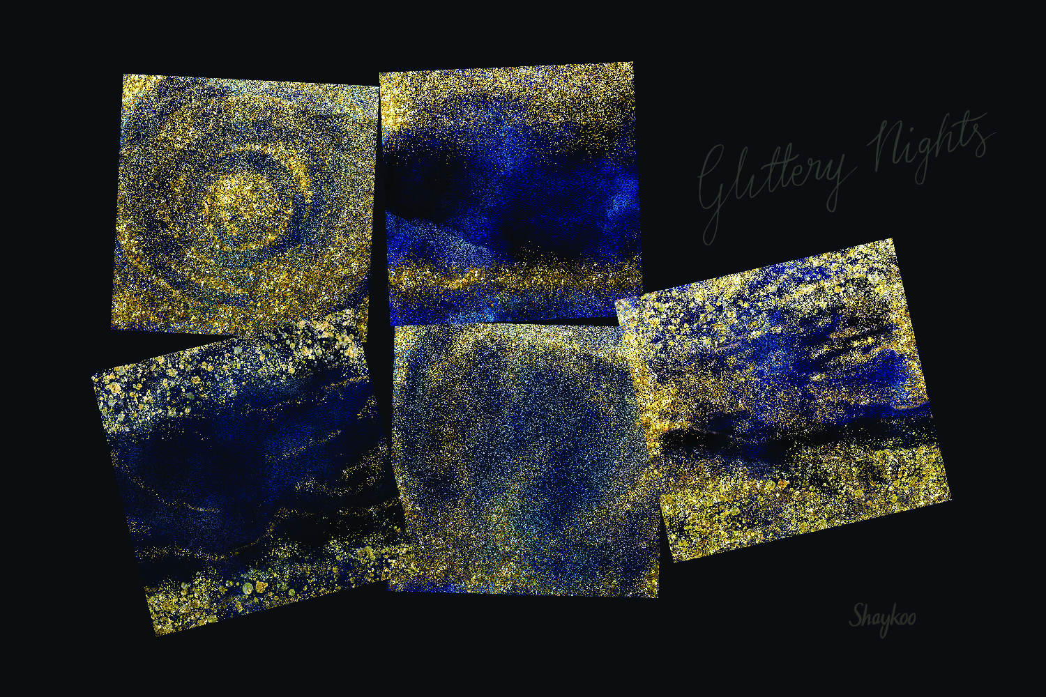 Starry Nights Digital Paper, Gold Glitter Background, Dark example image 3