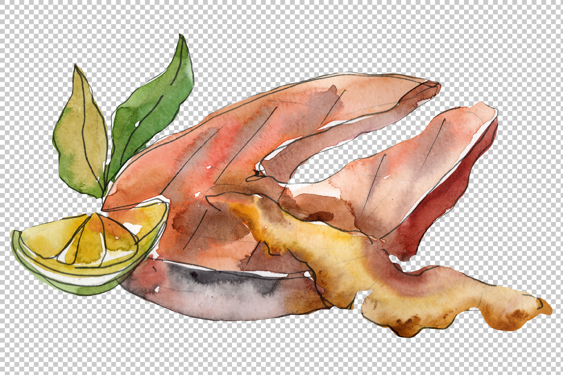 Salmon fish steaks PNG watercolor set example image 5