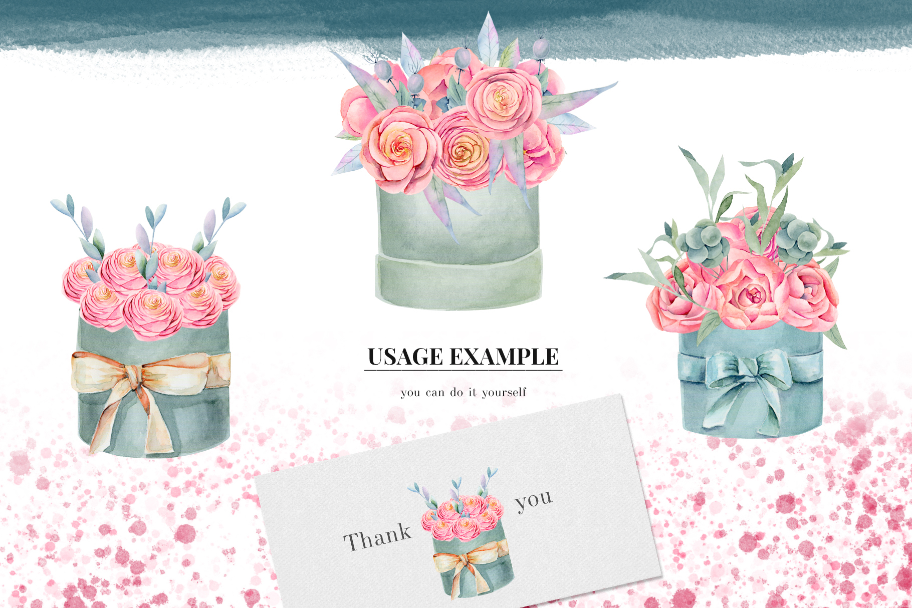 Floral boxes. Watercolor clipart. example image 4