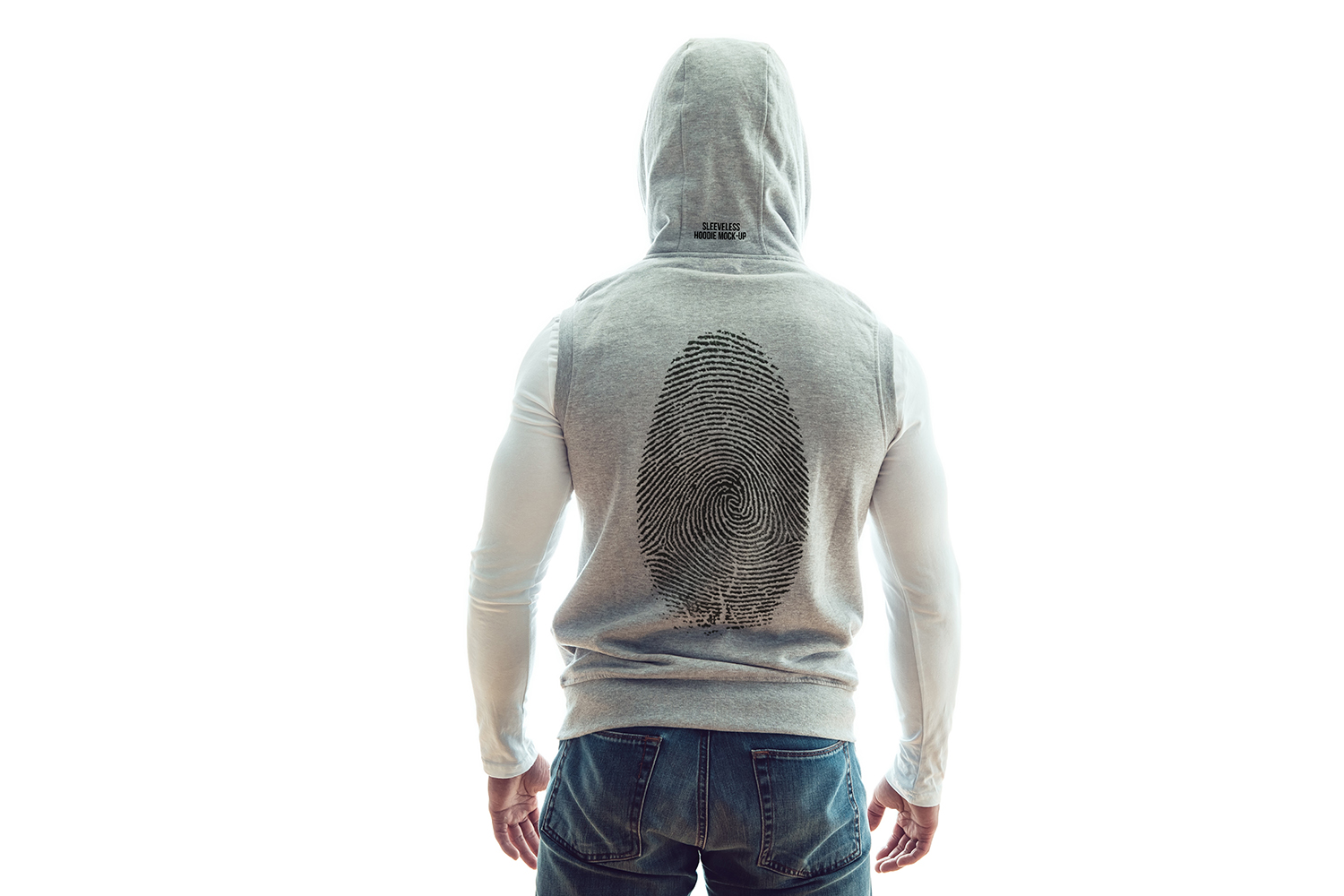 Sleeveless Hoodie Mock-Up example image 3