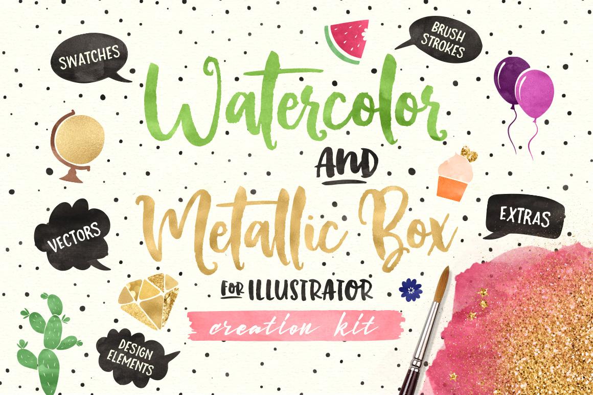 (AI) Watercolor and Metallic Box example image 1