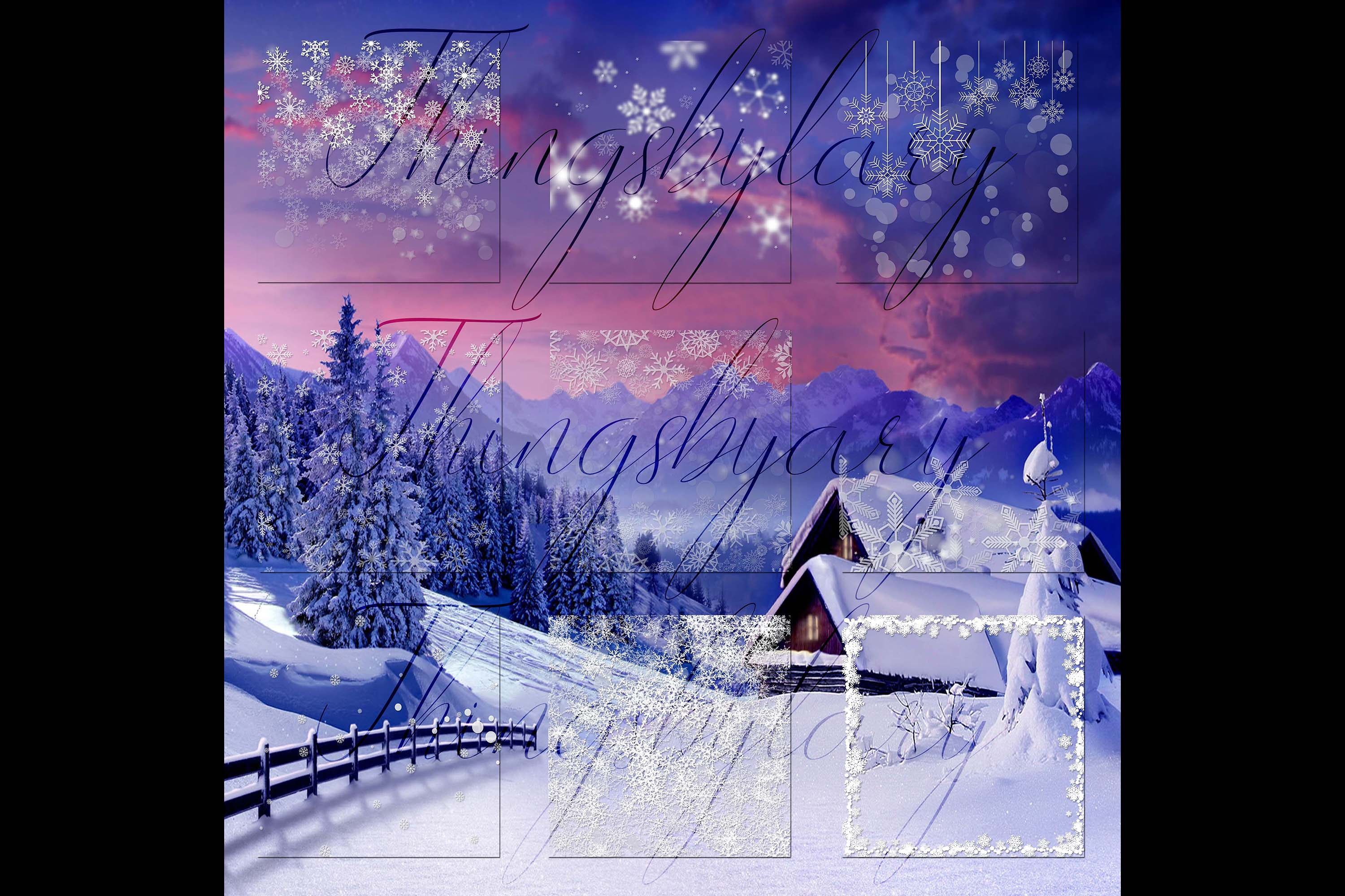 27 Falling Snowflakes Overlay Digital Images PNG Transparent example image 7