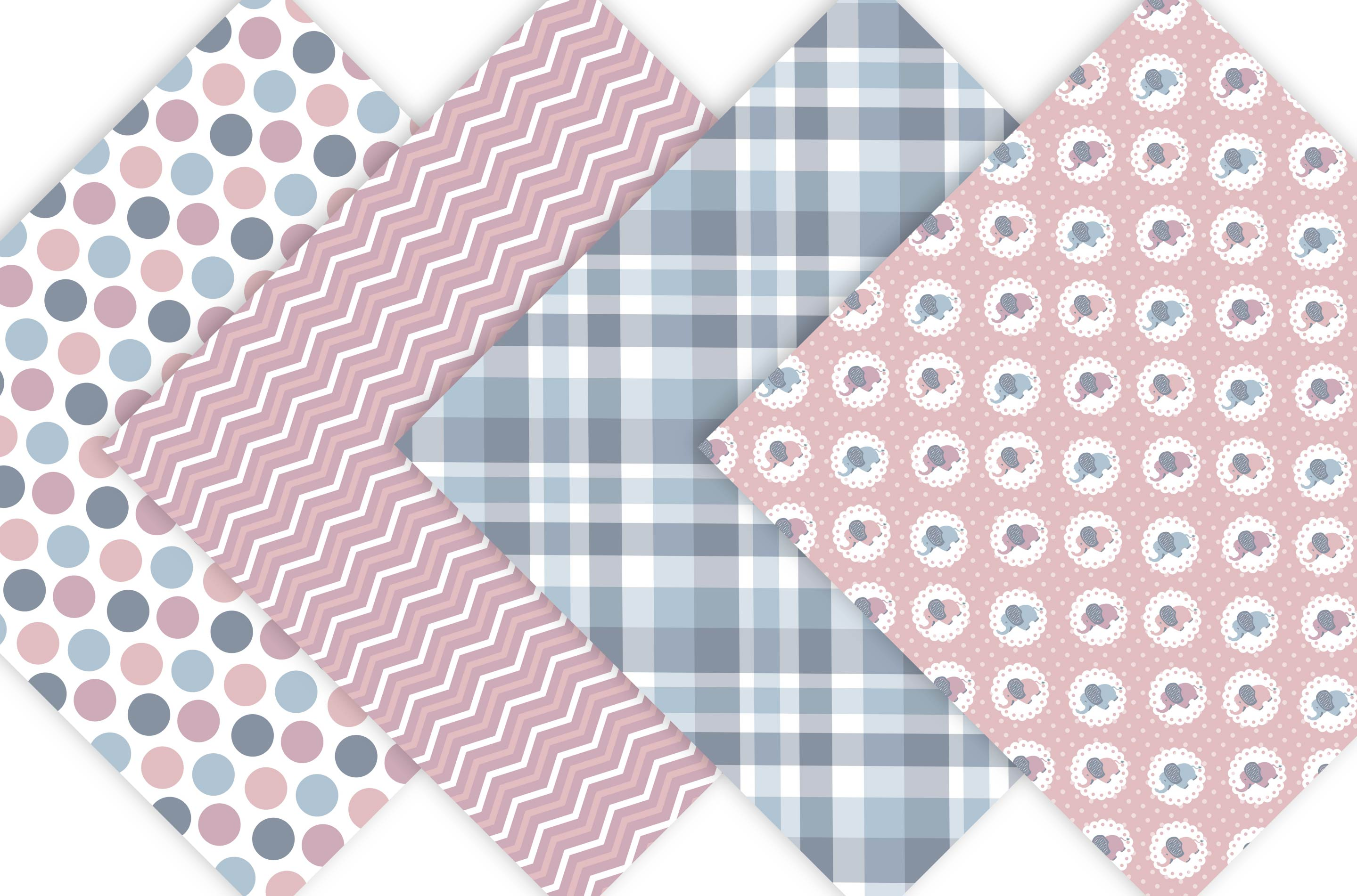 Baby Elephant Digital Paper Patterns - Pink example image 4