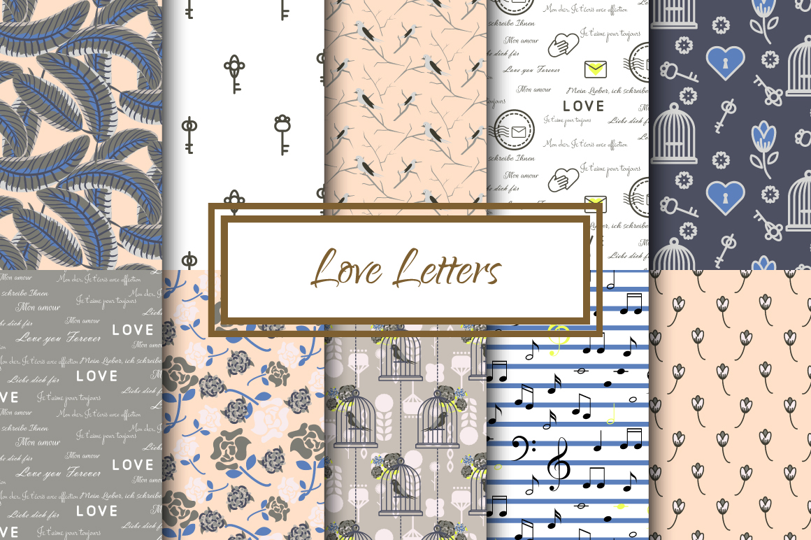 Love Letters Seamless Patterns example image 1
