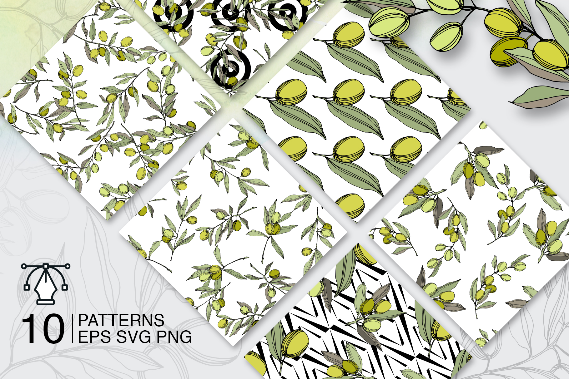Olives vector EPS watercolor set   example image 5