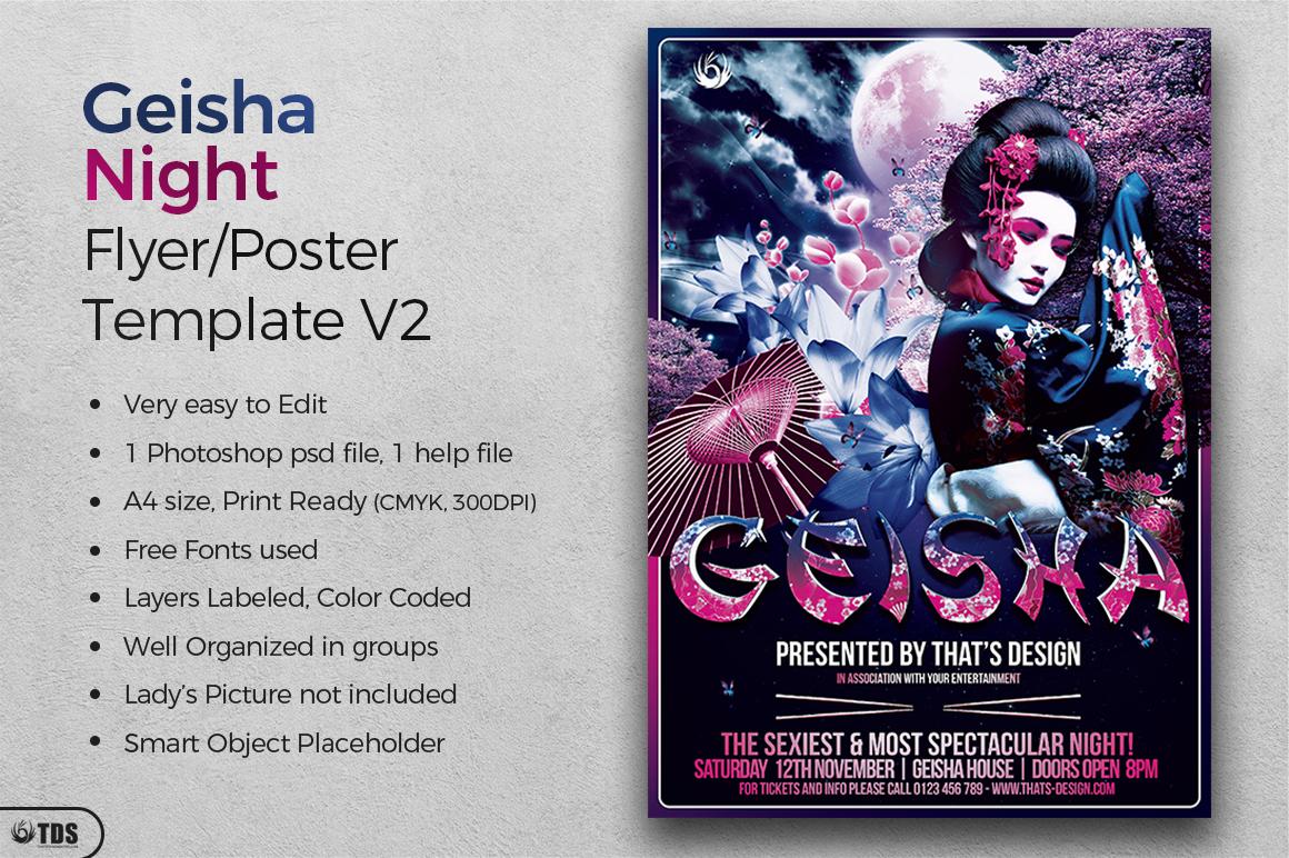 Geisha Night Flyer Template V2 example image 2